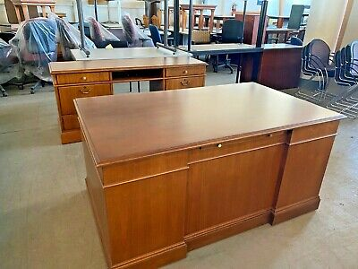 Executive Desk & Credenza Set by Jofco Office Furniture in Cherry Wood