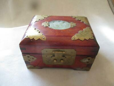 GREAT CHINESE WOOD AND BRASS JEWELRY BOX w/ JADE INSERT