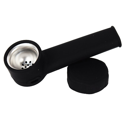 Silicone Smoking Pipe with Metal bowl & Cap Lid  ~ Solid Black ~ 3.5 inch.