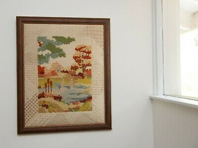 Vintage Framed Needlepoint Landscape Setting