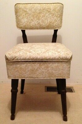 Vintage Mid Cent Mod Sewing Chair w/Storage Seat Gold Tapestry Vinyl Wood