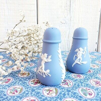Vintage Wedgwood Jasperware Porcelain Blue White China Salt & Pepper Shakers Set