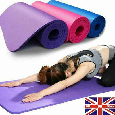 Yoga Mat EXTRA THICK 10mm Non Slip Exercise/Gym/Camping/Picnic 183cm x 61cm UK+