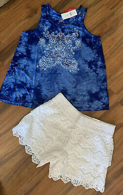 NWT Justice Kids Girls Size 6//7 8 10 or 12 Sweet Vibes Top /& Blue Tie Dye Shorts