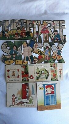 vintage greeting cards (8 birthday) 1930's and 1940's