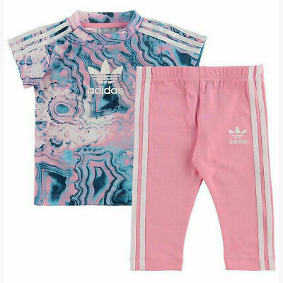 Adidas Girls Marble Tee Set T-Shirt Dress Leggings Outfit Baby Toddlers DV2325