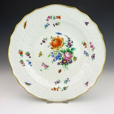 Antique Meissen Dresden Porcelain Hand Painted Flower & Insects Plate - Lovely!