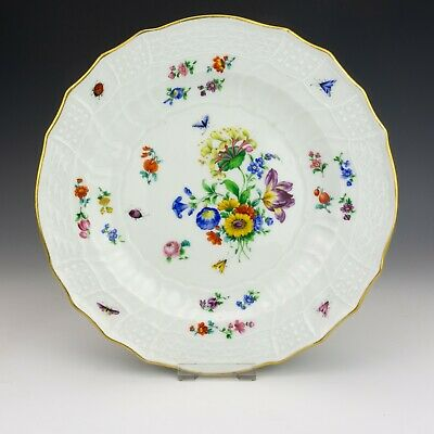 Antique Meissen Dresden Porcelain - Hand Painted Flower & Insects Plate