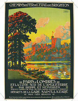 PARIS-LONDON, CHÂTEAU DE WINDSOR, Original Travel Poster, Constant Duval, 1913
