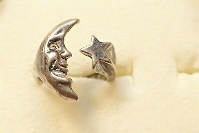 Grandmas Estate 925 Sterling Silver Old Pawn Moon And Star Ring