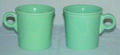 2 ~ FIESTA (Homer Laughlin) Retired Light Green Ring Handle MUGS~Great Condition