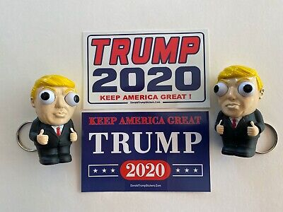2 President Donald Trump 2020 MAGA...Keychains... Squeeze...+ 2 Decals