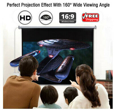 92 inch 16:9 Electric Motorized Projector Screen Home Movie HD + Remote Control
