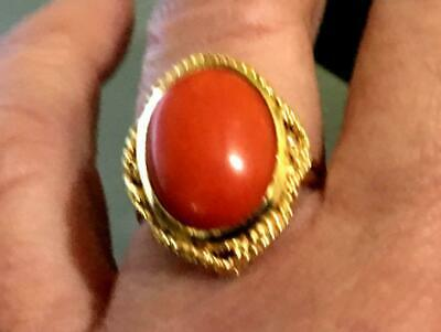 Gorgeous Antique 18K Large Natural Undyed Red Coral Ring