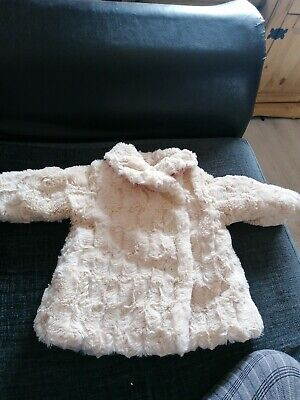 baby girls cream faux fur coat, 3-6 months