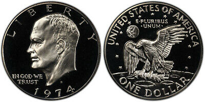 """1974 S Eisenhower Silver One Dollar $1 Proof """"IKE"""" Coin"""