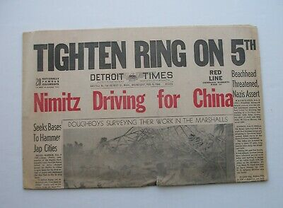Detroit Times February 9, 1944 WWII Nimitz Driving for China Marshall Islands