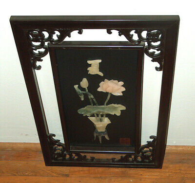 ORIENTAL Chinese Wall Art Panel Lacquer Carved Wood w/ JADE & SOAPSTONE Signed