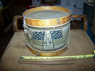 "Original Antique Childs Civil War Era Rope Tension Drum W/Metal Sides 9"" Dia."