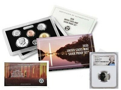 2020 SILVER PROOF SET w/ FIRST W REVERSE PF NICKEL, NGC PF69, FIRST DAY OF ISSUE