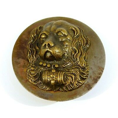 Victorian High Relief Black Metal Dog Button Oversized