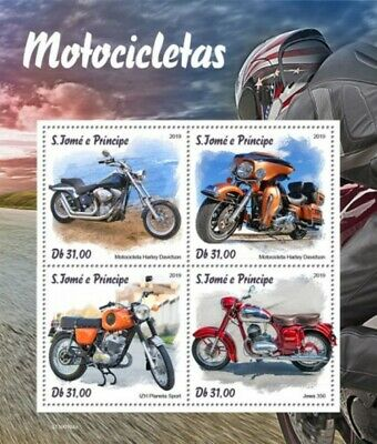 St Thomas - 2019 Motorcycles - 4 Stamp Sheet - ST190104a