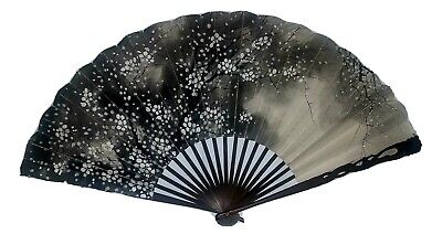 Antique Japanese Hnd Pntd Double Sided Fan Carved Handles