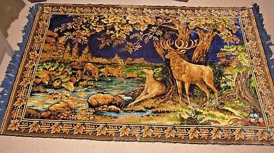 Vintage Wall Hanging Rug Tapestry 1950's Deer Stag  Forest River 4' X 6' WOW!