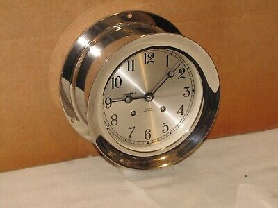 "Chelsea Vintage Ships Bell Clock~6""Dial~Hinged Bezel~1992~Mint Condition"