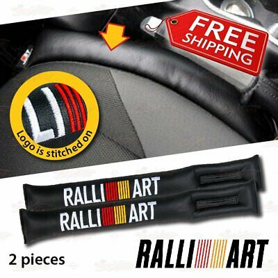 2 PC Leather Leak Proof Gap Soft Filler Car Seat Stopper Pads for RALLIART BLACK