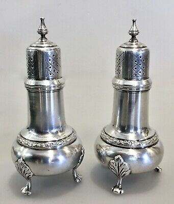 Pair Antique Whiting Sterling Silver Salt Pepper Shakers Talisman #866