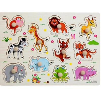 Baby Learning Kids Letter Puzzle Wooden Animal Jigsaw Early Educational Toys YG