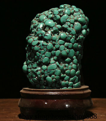 "8"" Collection Chinese Old antique turquoise Carved Strange Stone Decorate Statue"