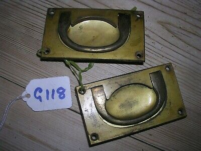 Pair Of Antique Brass Inset Handles (G118)