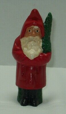 "Antique CAST IRON STILL BANK SANTA WITH TREE  5""+ - ESTATE SALE - AS FOUND -"