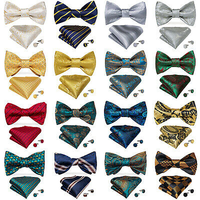 Mens Paisley Solid Plaids Checks Bow Tie Pretied Silk Bowtie Hanky Cufflinks Set