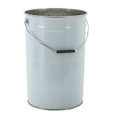 2x 25 Litre Metal White UN Approved Bucket/Pail/Tinplate Lid with Plain Interior