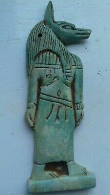 Magnificent Ancient Egyptian Faience Amulet With God Anubis