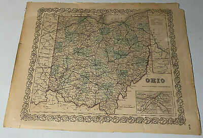 Lot Of 1 Antique 1855 State Of Ohio Map No.39 Published by J H Colton & Company
