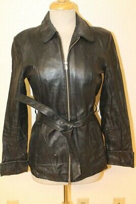 Womens Wilsons Vintage Black Leather Belted Jacket Sz Xs