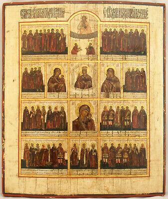 Antik Ikone Russland Heilungsikone Large Russian Medical Icon Helpers Sickness