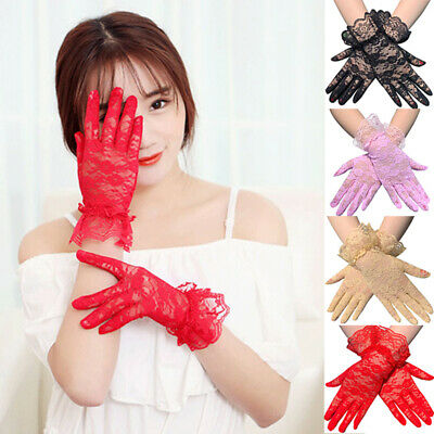 Ladies Mittens Lace Mittens Summer Women Dressy Breathable Full Finger Gloves US