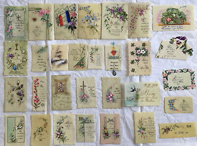 1895-1903 30 MEMENTO CARDS handpainted on celluloid FRANCE UNIQUE rare!
