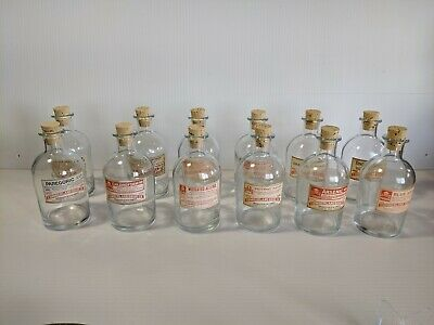 Vintage Apothecary Pharmacy Glass bottle Set of (12) Original Labels POISON