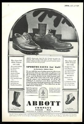 1929 Abbott golf shoes fishing boots waders vintage print ad