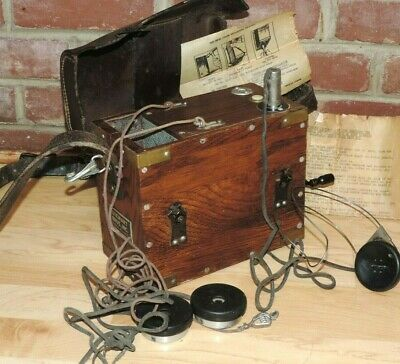Vintage 1915 Stewart Brothers Lineman Telephone Tester Box Crank Head Phone