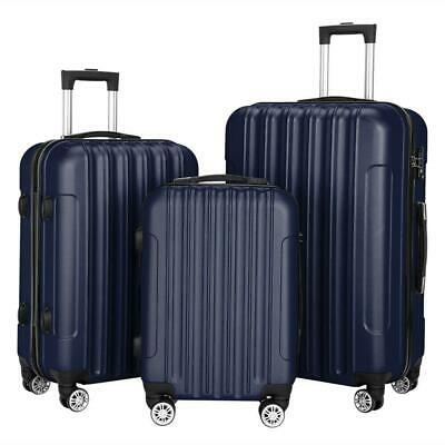 3Pcs Luggage Travel Set Abs Bag Trolly Hard Shell Suitcase Wear-Resistant