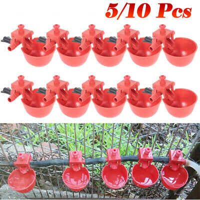 10Pcs Bird Coop Automatic Feed Poultry Water Drinking Cups Chicken Fowl Drinker