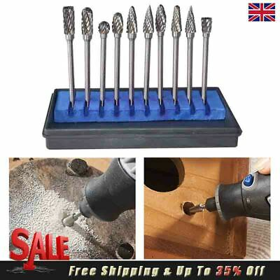 10Pcs Rotary Burr Tungsten Steel Carbide Dremel Drill Bits Grinder Tool Use Set