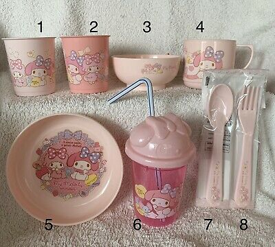 NEW!! Set of 8 Sanrio x Daiso My Melody 2018 Plastic Tableware/Dining Set